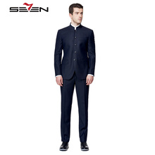 Seven7 Tailor Made Men Suits Blazer Mandarin Collar Fashion Elegance Suits Custom Made Dress Suits (2 Pieces,Top and Pant)