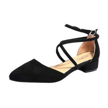 226ad303 SAGACE 2019 nuevas mujeres de moda punta del dedo del pie hebilla Correa zapatos  Casual sólido talón cuadrado sandalias Med talón zapatos ocio zapatos Ja17