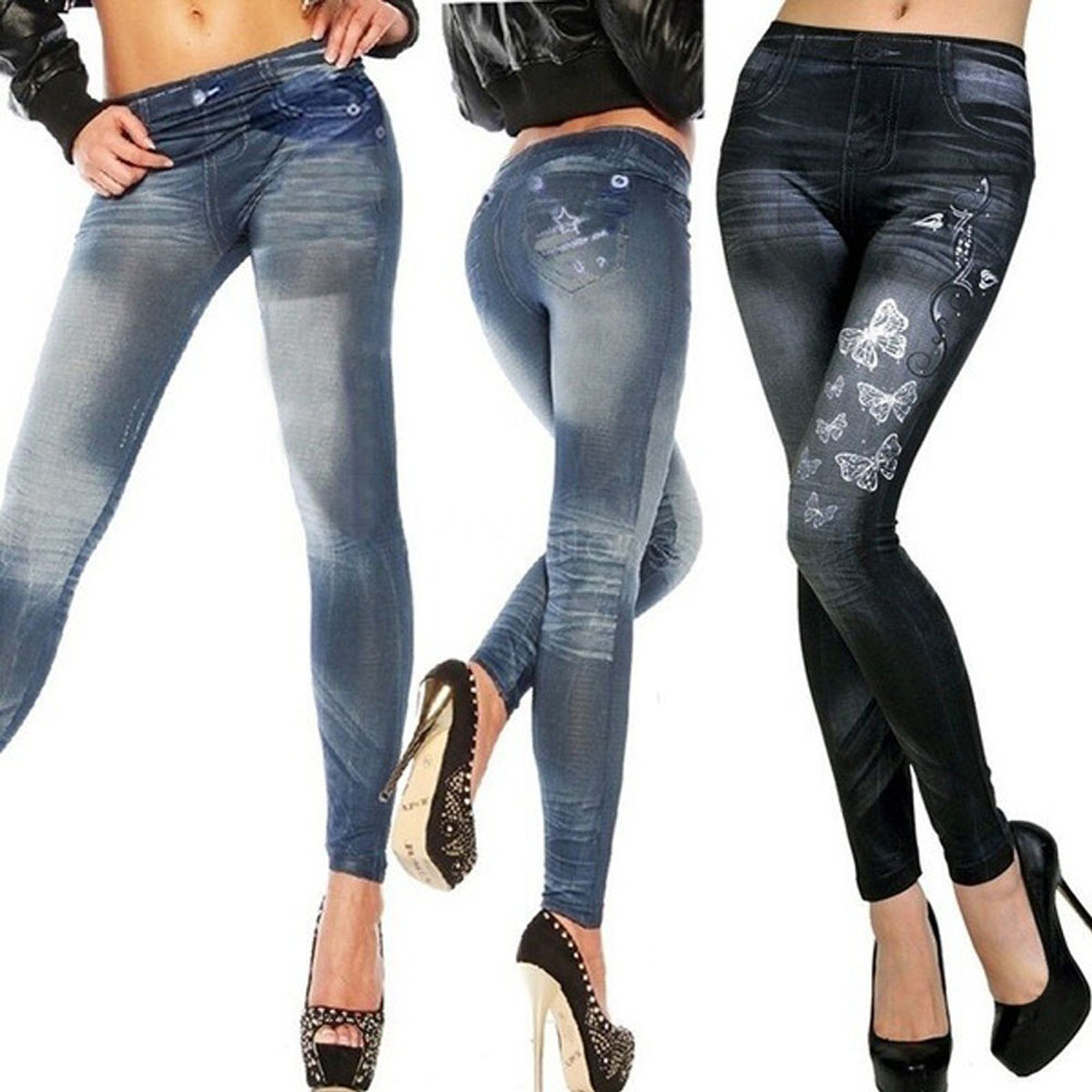Jeans Women's Jeans Print Casual Slim Cropped Pants   Leggings   Fitness Large Size XXXL