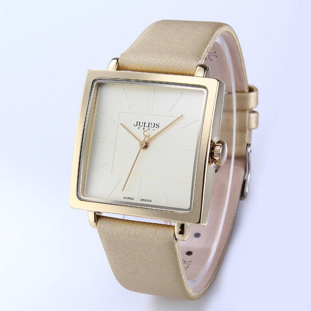 Women Watches Brand Julius Square Quartz Lady Watches Luxury Genuine Leather Dress Waterproof Wrist Watch Feminino Montre JA-354