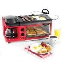 3 in 1 Breakfast Machine 600w coffee pot+700w Teppanyaki +900w oven Bread Baking Maker Bread Toaster /Fried Egg/ Coffee Cooker