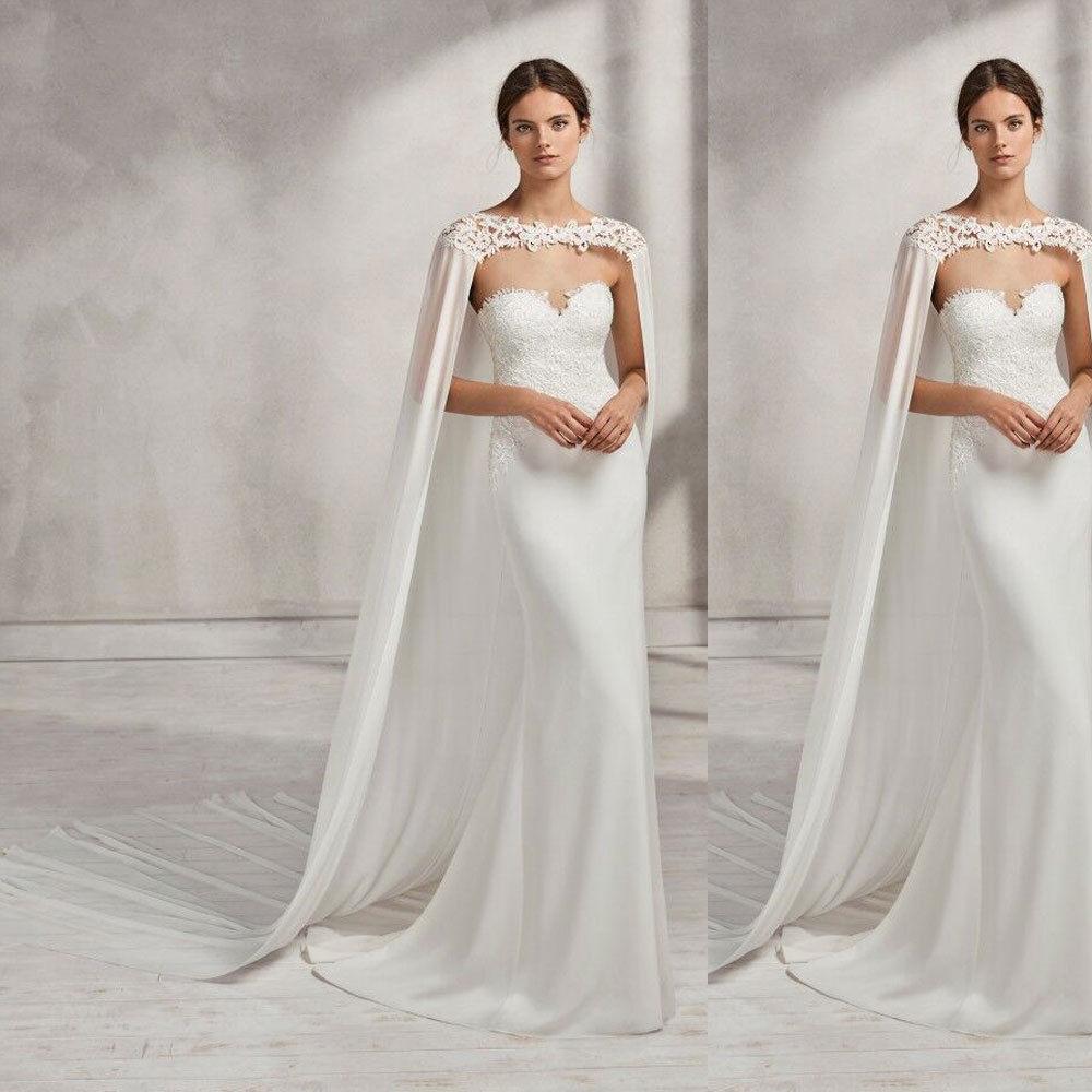 Wedding Bridal Long Cloak White , Ivory Bridal Dress Cape Chiffon Shawl with Lace Wraps Jacket-in Wedding Jackets / Wrap from Weddings & Events    2