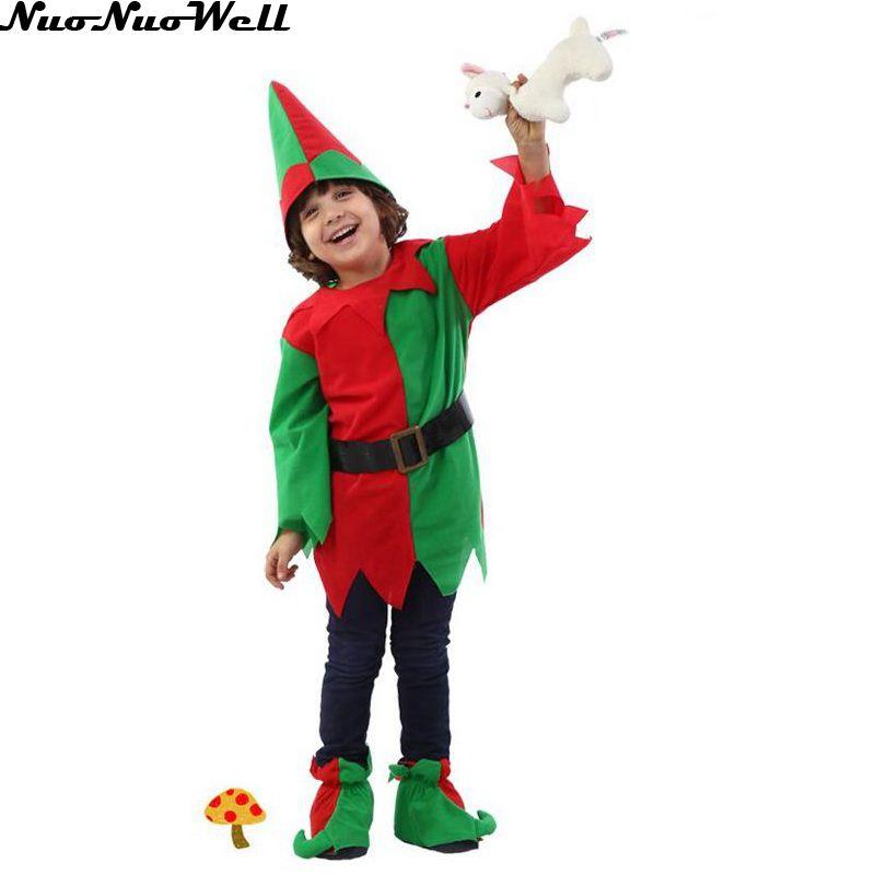 halloween traje de la navidad de manga larga nio traje de duende verde y rojo rbol