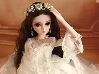 Full Set SuDoll BJD 1/3 Beautifui Bride girl doll Free Eyes wig clothes all included Doll toys Hot Sale
