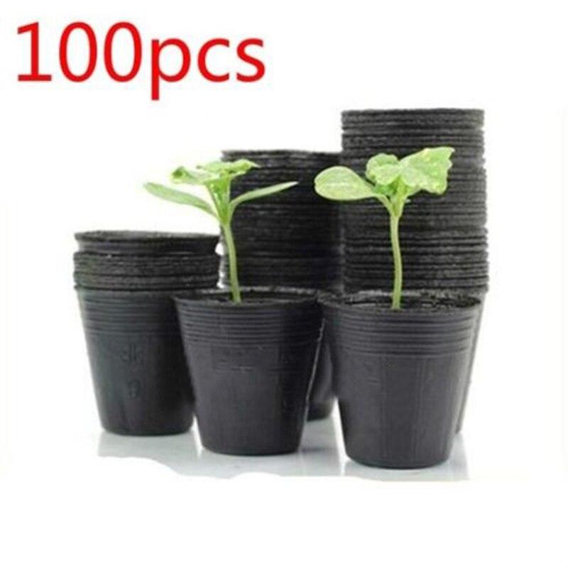 100Pcs 4-Size Plastic Plant Flowers Pots Nursery Seedlings Pots Plant Garden