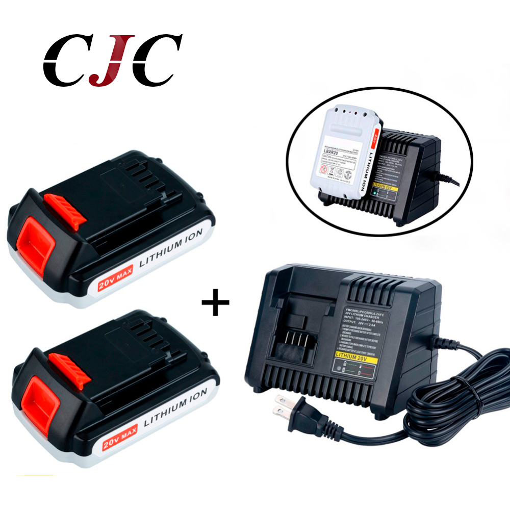 2PCS 20V Li-ion 2000mAh Rechargeable Power Tool Replacement Battery for BLACK & DECKER LB20 LBX20 LBXR20 + Charger батарея apc rbc123