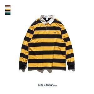 Image 5 - INFLATION Men Autumn Striped Tshirt Men Streetwear Turn Down Collar T shirt Long Sleeve Tees For Men 100% Cotton Shirts 91504W