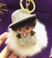 Cartoon Crystal hat Monchichi Monchhichi doll Real Bunny fur pompom pom pom car keychain key chain women bag pendant Accessories