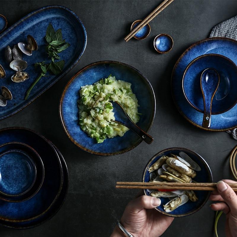 KINGLANG Керамика синий риса лапши чаша блюдо соусом столовый набор посуды