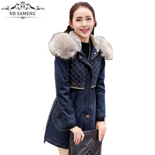 Spring Denim Jacket Coat 2017 Women Fur Collar Hooded Lamb Cotton-padded Winter Thick Warm Jeans Parka Casual Oversized
