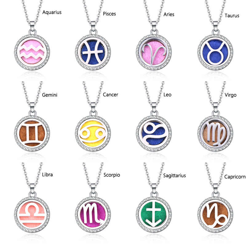 New 12 Constellations Lockets Pendants With Essential Oil Diffuser Aromatherapy lockets Diffuser Pendant necklace