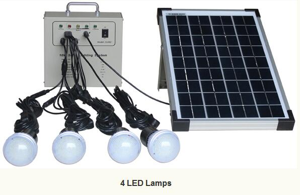 Mxsolar 10w Portable Hot Solar System Lighting Kit Energy Saving With 4 Bulbs