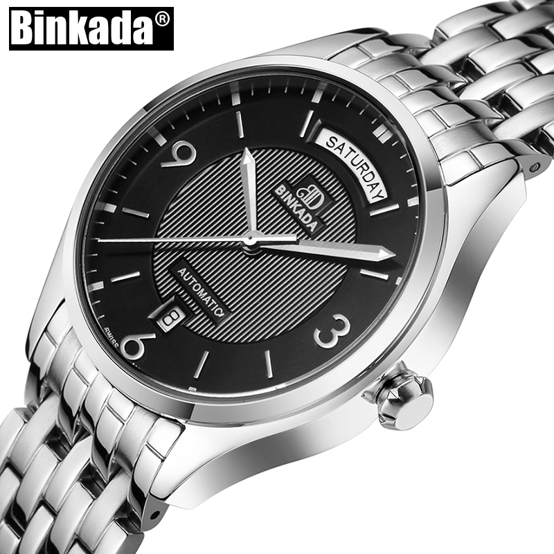 где купить Simple Luxury BINKADA Men Mechanical Watches Top Brand Watch Mens Sport Casual Watches High Quality Automatic Business Watches дешево