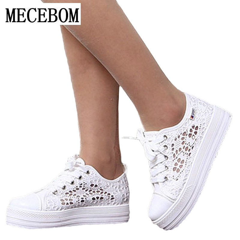 2017 Cutouts Lace Canvas Shoes Hollow Floral Print Breathable Platform Women Casual Shoes Woman A13W summer women shoes casual cutouts lace canvas shoes hollow floral breathable platform flat shoe sapato feminino lace sandals