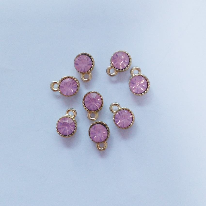 Gold color round protein drill rhinestone drop charm, 12*9mm round pink protein drill embedded in center charms 20pcs/lot