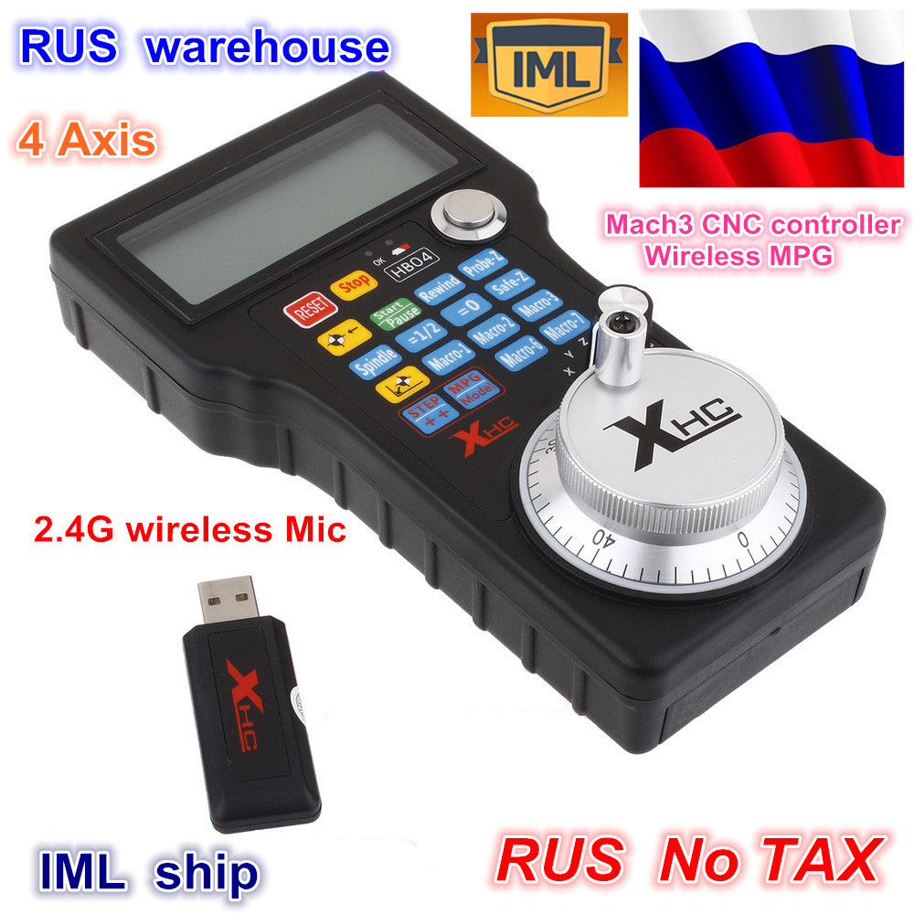 RU ship 4 Axis Wireless USB MPG Pendant Handwheel Mach3 For CNC Mac.Mach 3, 4 axis Controller for Mach3 System Router