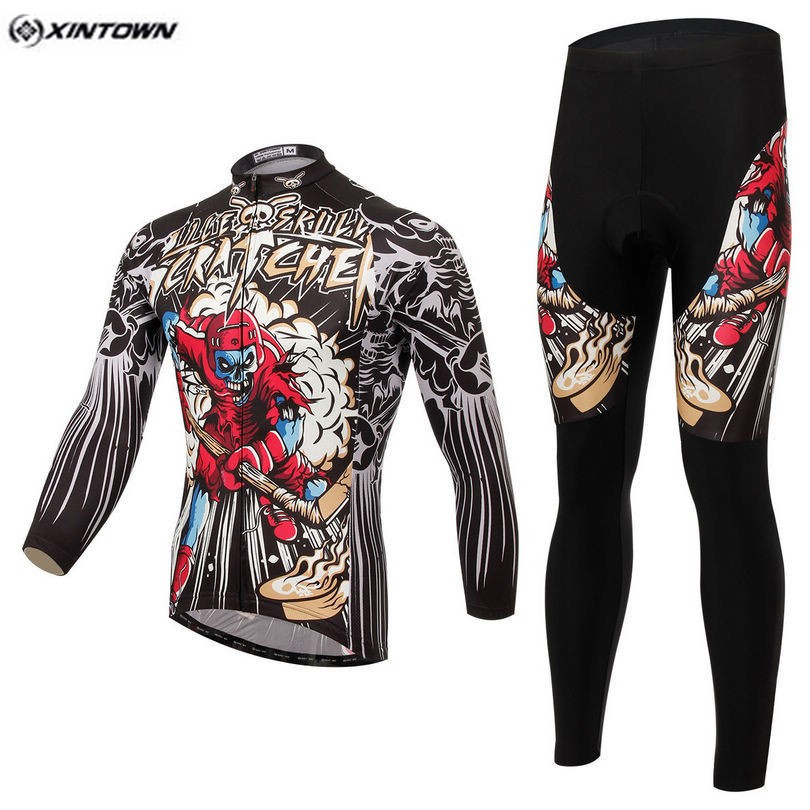 Hot XINTOWN Men Skull Red MTB Bike jersey Bib Pants Sets Pro Team Cycling clothing Riding Wear Long Sleeve Shirts Coolmax
