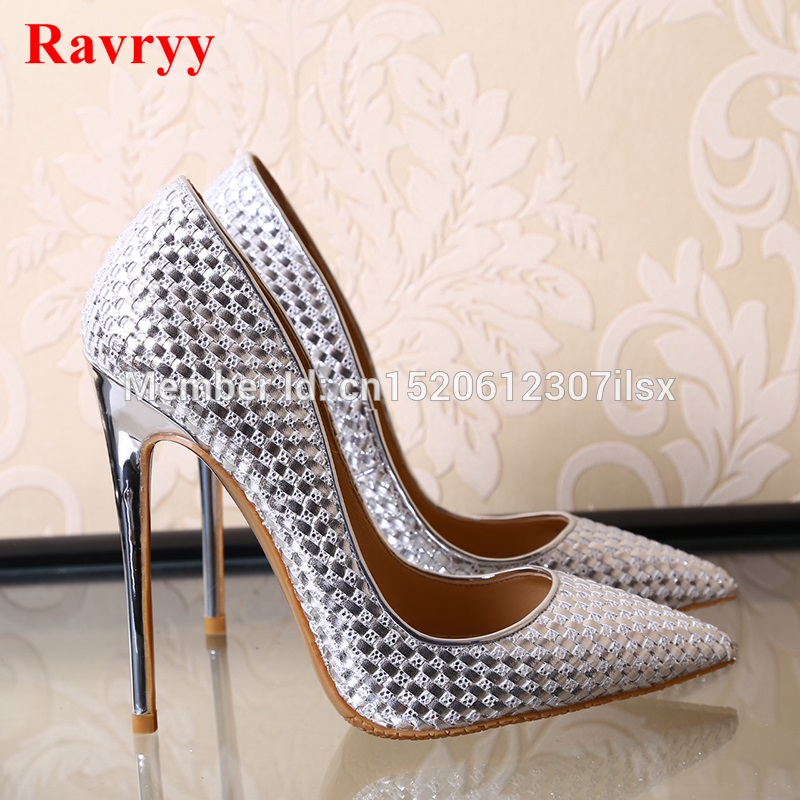 Silver/Gold/Black Woman High Heels Slip-On Pumps Stiletto Thin Heel Women's Shoes Pointed Toe High Heels Party Dress Shoes sexy silver blade heels woman pumps pointed toe metal heels high heel dress shoes cut out mixed colors slip on women pumps