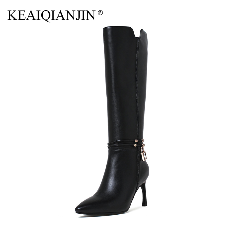 KEAIQIANJIN Woman Crystal Knee High Botas Autumn Winter Genuine Leather Pointed Toe Shoes Plus Size 33 - 43 High Heel Boots 2017