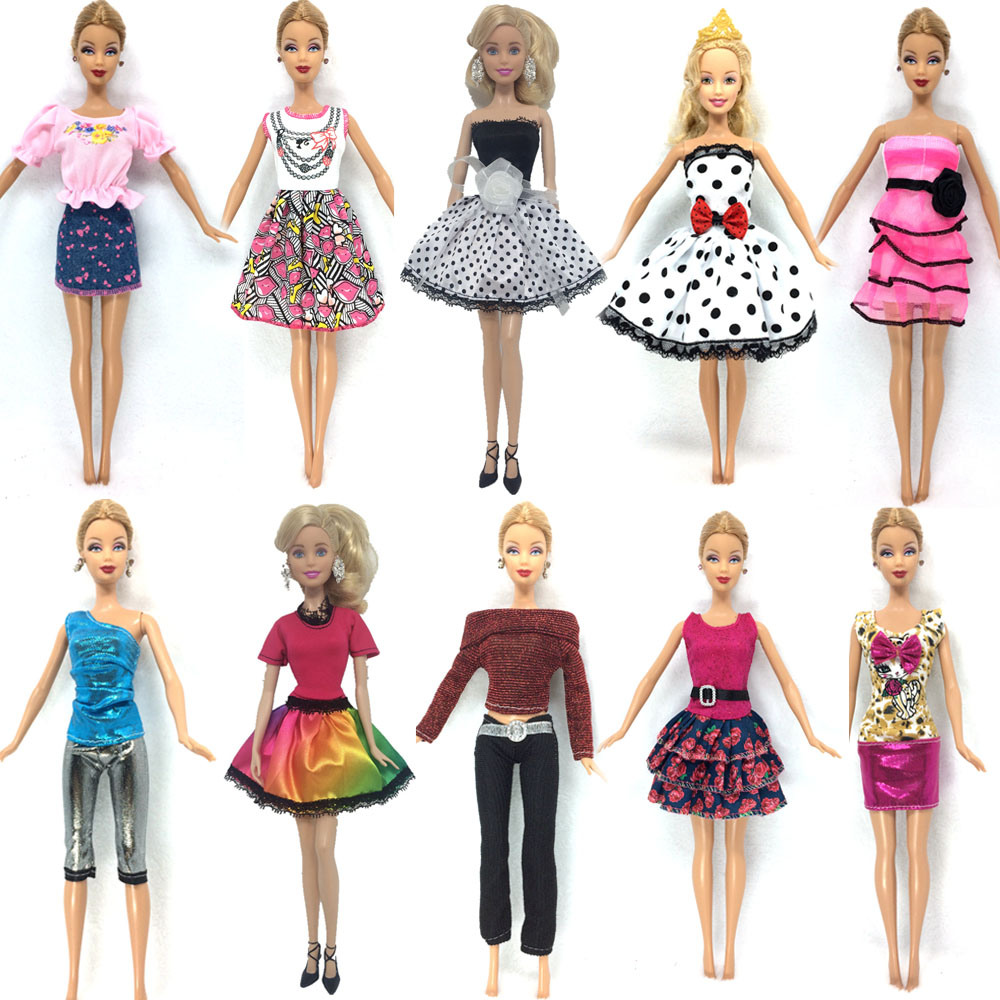 все цены на NK Hot Sell One Set=10 Pcs Mix Sorts 2017 Newest Beautiful Handmade Party Clothes Fashion Dress For Barbie Doll Best Gift Toys