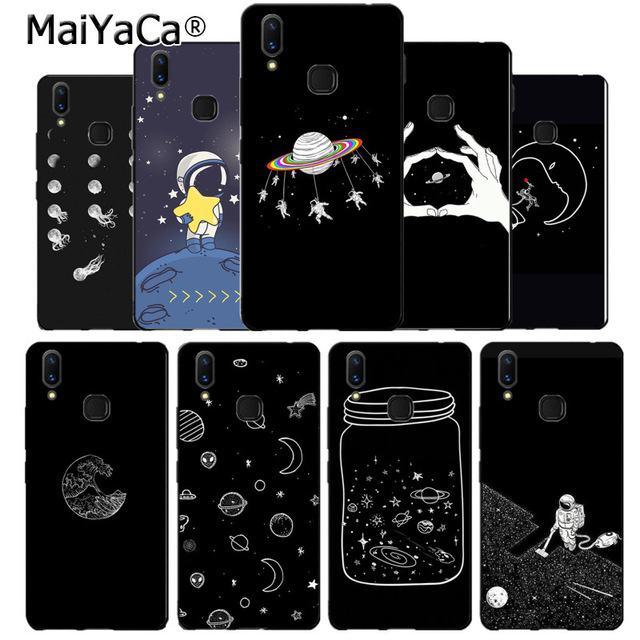 US $1 23 27% OFF|MaiYaCa black with white moon stars space astronaut Soft  cover phone Case for vivo v9 v7 Y83 x20 x20plus x21 plus nex s coque-in