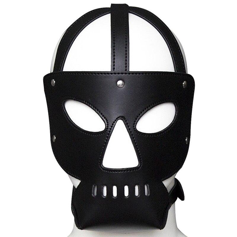 Сексуальный косплей собака головной убор кожаный капюшон БДСМ бондаж Фетиш раб повязка на глаза маска колпачок подголовник капот Пром игра одежда в стиле рейв - Цвет: PG0145