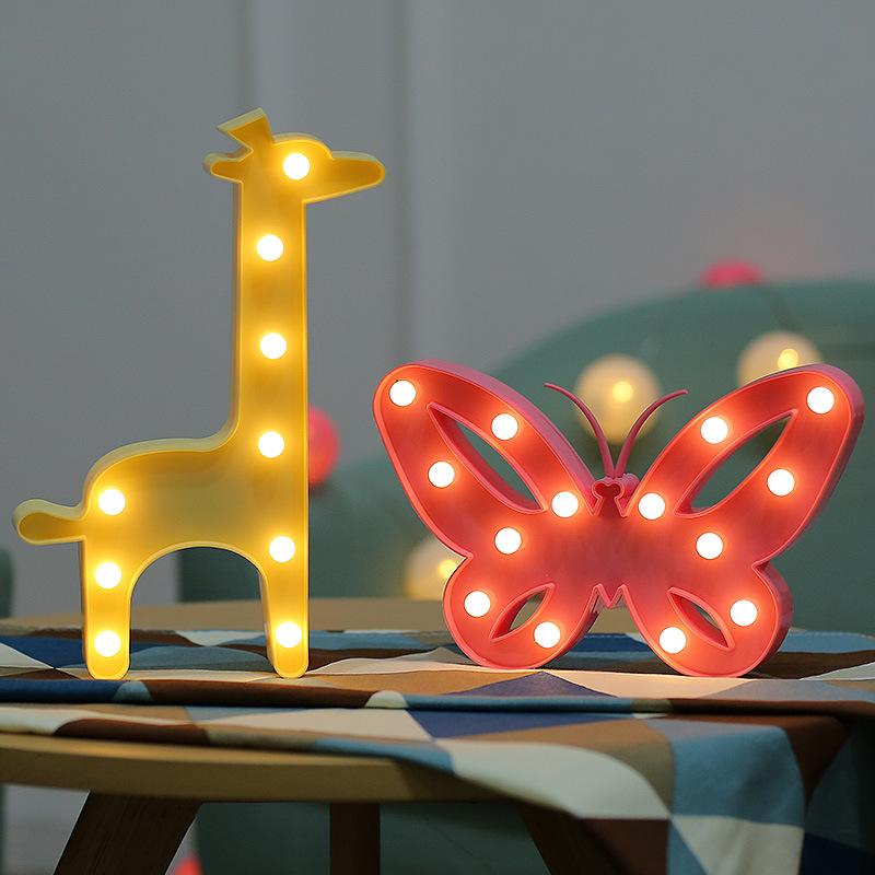 LED Table Night Light Animal Marquee Star Heart Flamingo Pineapple Christmas Coconut Tree Home Party Decoration 3D Desk Lamp
