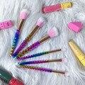 6 unids Diamante Forma Maquillaje Cosmético del Sistema de Cepillos de Sombra de Ojos Fundación Colorete Powder Blender Panal manejar Cepillo Profesional kit de belleza