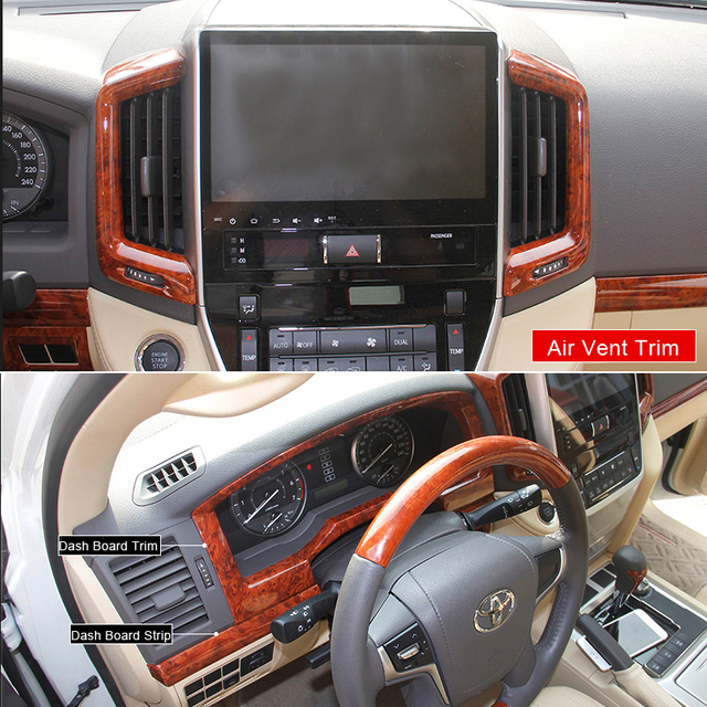 For Toyota Land Cruiser 200 2016 2017 Chrome Interior Wooden Mouldings Package Door Trims Air