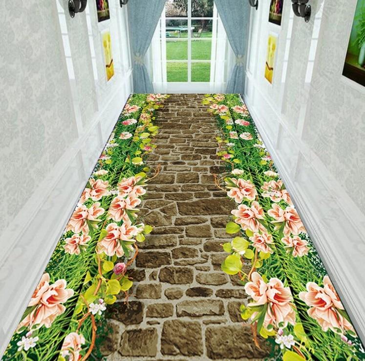 6MM 3D Carpet Corridor Aisle Stair Strip Carpet Bedroom Full Bedside Porch Home Wedding Non-slip Mats Cobblestone Rugs