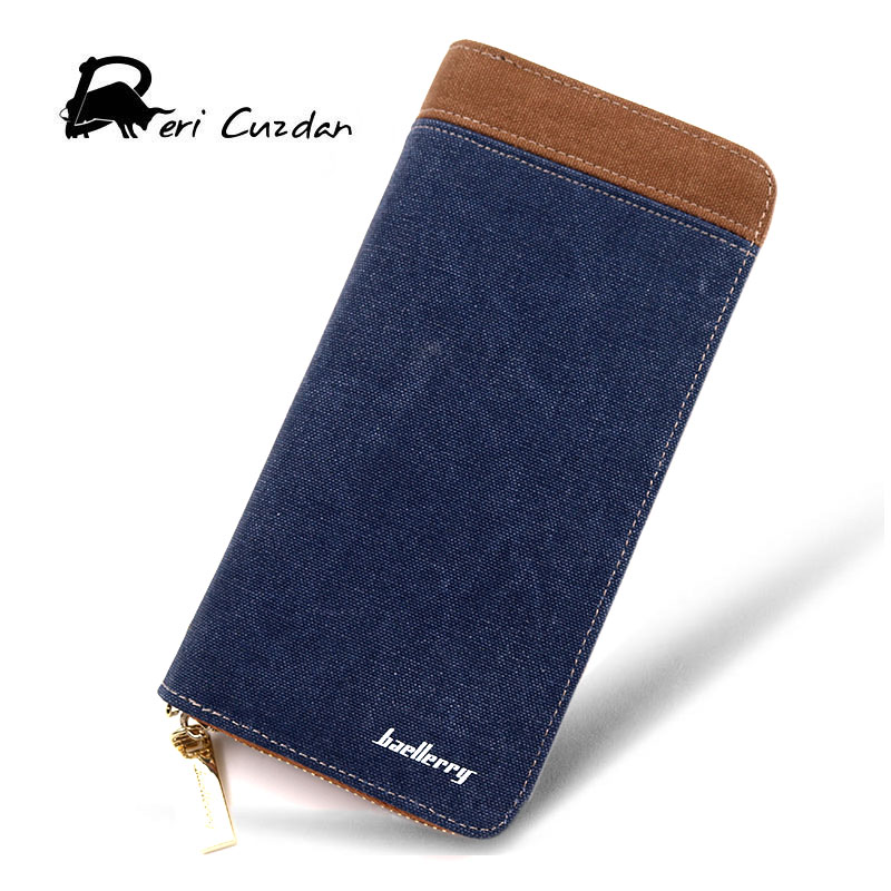 BAELLERRY 2017 Canvas Wallets Men Casual Zipper Around Wallet Long Male Purses Men Clutch Bag Wallets Carteira Masculina Cuzdan