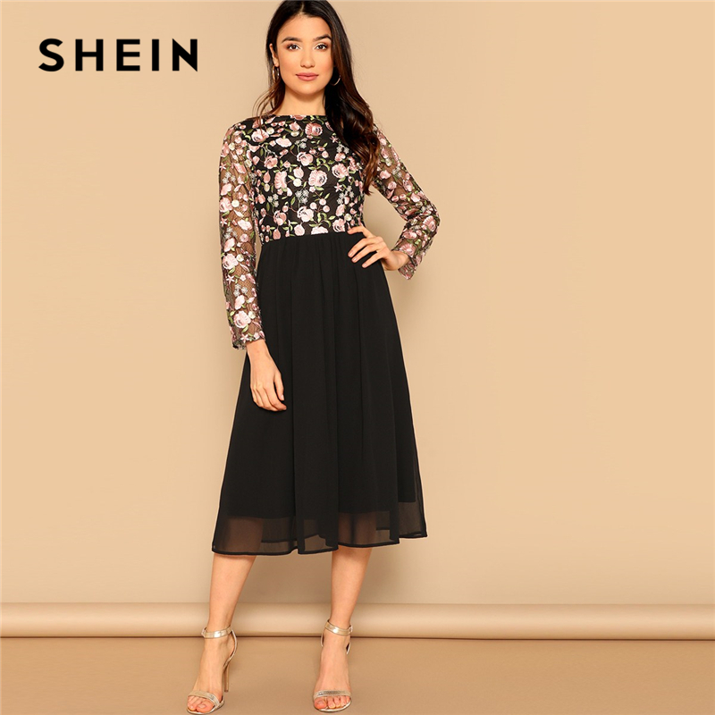 SHEIN Black Elegant Floral Embroidered Mesh Fit and Flare High Waist Long Dress Women Spring O-Neck Long Sleeve A Line Dresses
