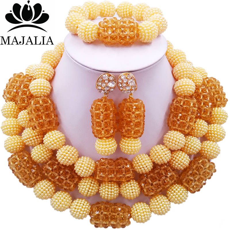 Majalia Official Store Majalia Classic Fashion Nigerian Wedding African Jewelery Set Beige and Champagne Crystal Necklace Bride Jewelry Sets 3SZ023