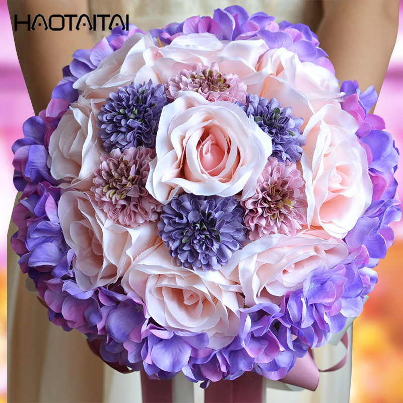 Bridal Bouquet 2018 Champagne Purple Rose Brooch Wedding Bouquets de mariage Polyester Flowers Custom