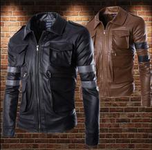 Personalized motorcycle mens leather jacket slim coat Splicing multi-pocket jackets fashion clothing jaqueta de couro street