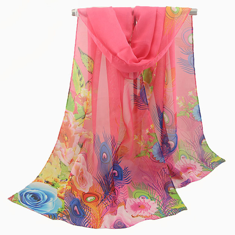 Fashion 2018 For Women Scarf Peacock Feather Print Silk Scarf Sunscreen Beach Towel Shawl Summer Scarfs For Ladies Chiffon Hijab