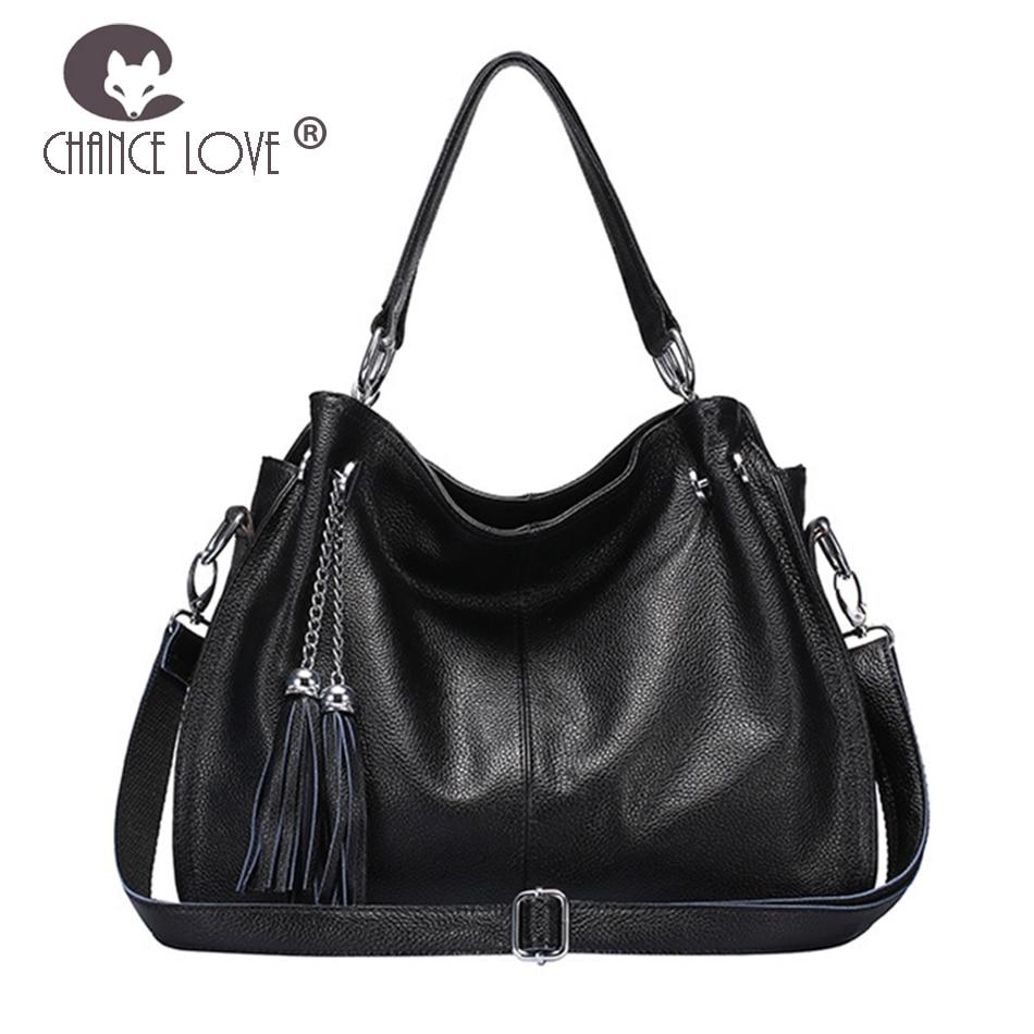 Chance Love 2018 summer new women Genuine Leather handbag casual tassel Casual tote shoulder bag slung lady bag black bag цена