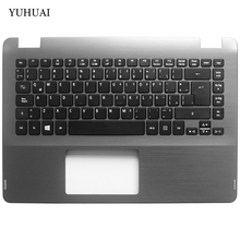 New LA laptop keyboard for Acer Aspire R14 R3-431T R3-471T R3-471TG Latin Keyboard with Palmrest COVER