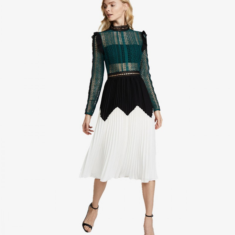 Robe autoportrait 2018 femmes élégantes voir à manches longues robe plissée en mousseline de soie dentelle vert blanc robes longues Midi robes vestidos