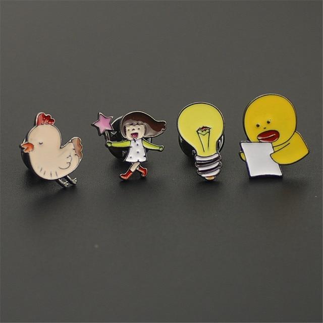 free shipping fashion women New Jewelry wholesale Cute brooch anime jewelry small duck light bulb chicken brooch for women SET