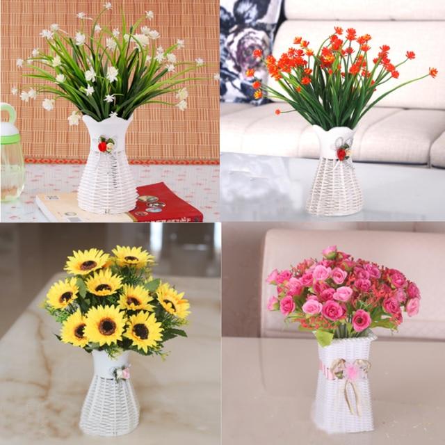 One Set Artificial Flower Bouquet And Vase Wedding Pot Home ...