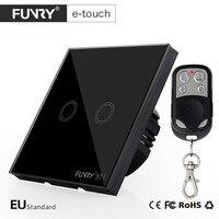 FUNRY EU UK Standard Touch Switch 2 Gang 1 Way RF433 Glass Panel Wall Switch Smart