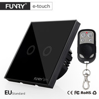 FUNRY EU UK Standard Touch Switch 2 Gang 1 Way RF433 Glass Panel Wall Switch Smart