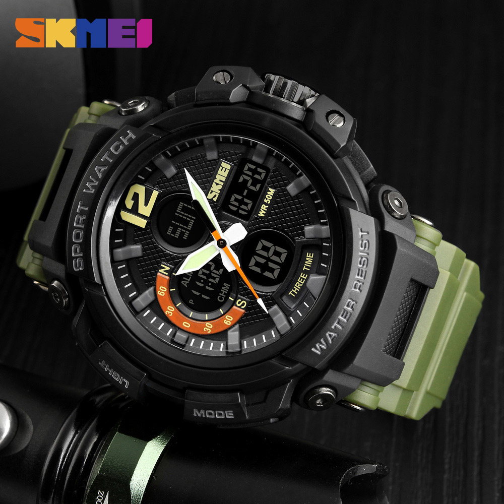 цена SKMEI Outdoor Sport Army Military Watch Clock Top Brand Luxury Man Watch Men's Analog Quartz Digit LED Watches Relogio Masculino