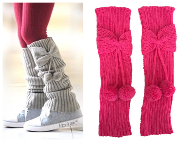Fashion Explosions Autumn And Winter Small Children's Children's Bow With Socks Socks Knitted Wool Boots Cover Leggings
