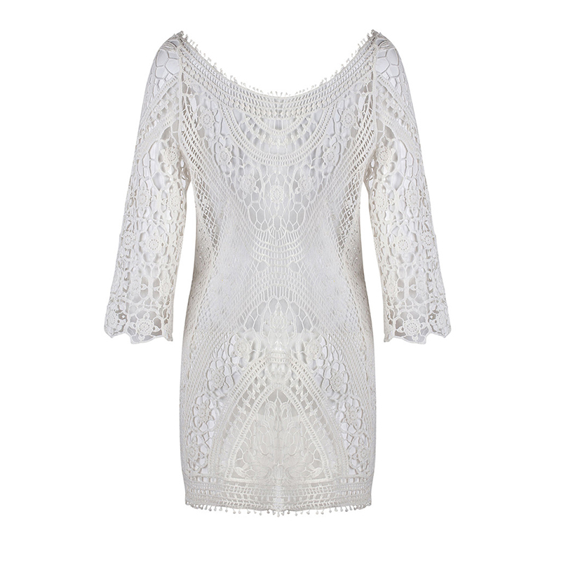 3c889249686b7 Women Bikini Cover Ups Lace Hollow out Crochet Beach Robes Tunic Bathing  suit Pareo de Plage Beach Sarong Wrap-in Cover-Ups from Sports &  Entertainment on ...