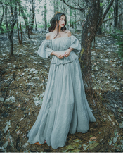 Bodycon 2018 Women Light Gray Seashore Vintage Fairy Long Maxi Dress Medieval Renaissance Gown Princess Victorian