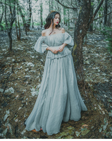 Bodycon 2018 Women Light Gray Seashore Vintage Fairy Long Maxi Dress Medieval Dress Renaissance Gown Princess Victorian Dress