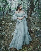 Bodycon 2018 Women Light Gray Seashore Vintage Fairy Long Maxi Dress Medieval Dress Renaissance Gown Princess Victorian Dress
