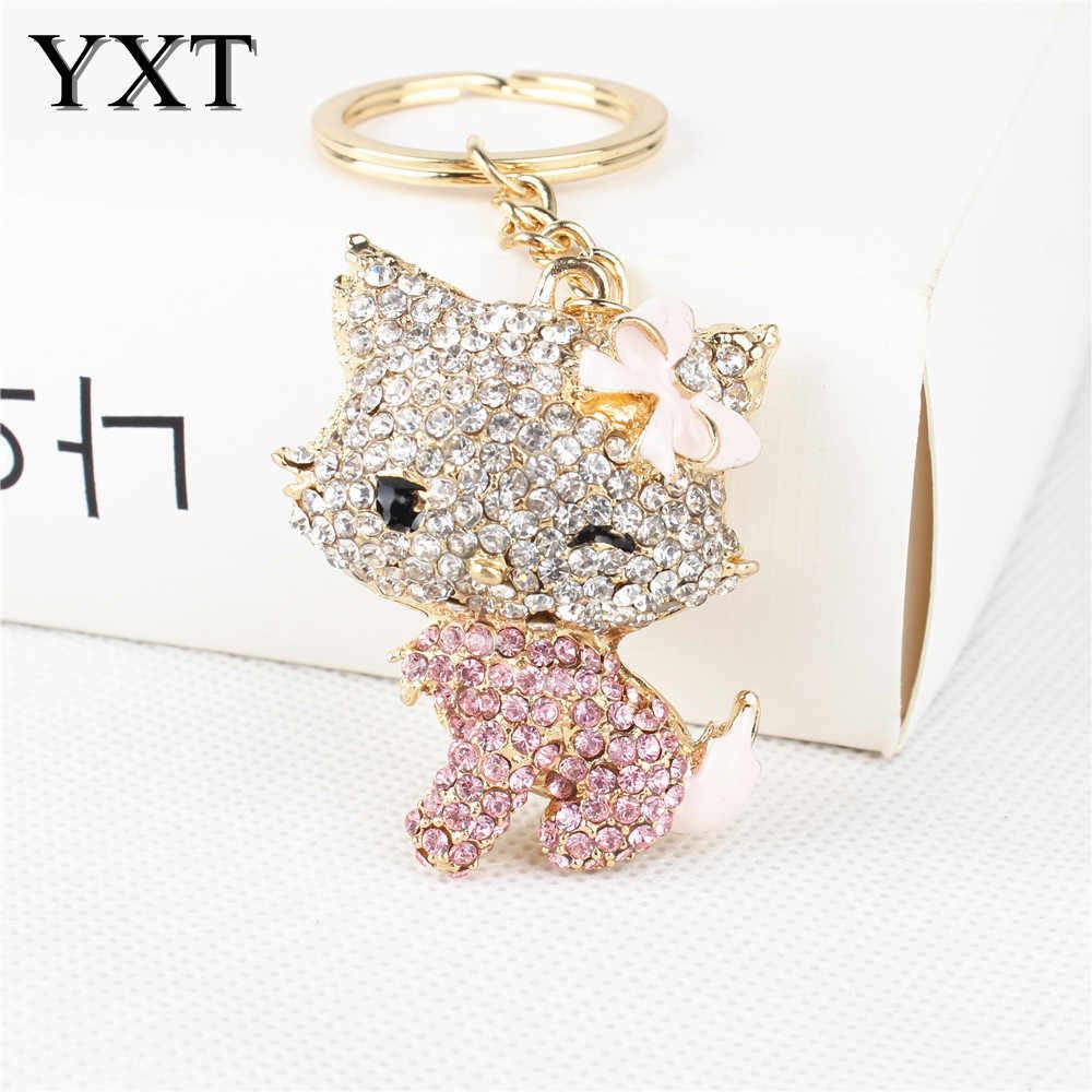 Moda gato encantador Rosa Bowknot cristal encanto monedero bolso coche llavero fiesta boda cumpleaños regalo